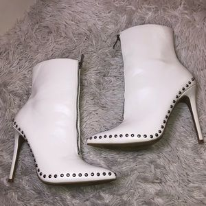 White Bootie Heels With Silver